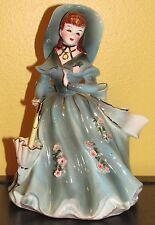 ~Vintage Geo Lefton Southern Belle Lady Figurine Planter Green Dress & Parasol~