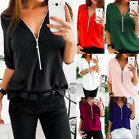 Womens Casual Shirts V-Neck Zipper Loose Chiffon Shirt Long Sleeve Tops Blouse