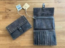 Patricia Nash Distressed Vintage Stud Leather Colli Flap Trifold Wallet Grey NEW