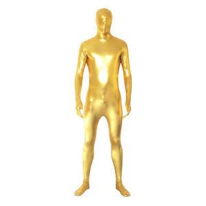 Metallic Gold Full Body Zentai Spandex Fancy Dress Lycra Catsuit S-XXL