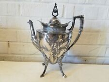 Antique Silver Plated Teapot Floral Decorations 4 Horse Hoose Feet / Legs