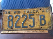 1939-40 Large Wisconsin Truck License Plate Tag Yellow With Blue Letters