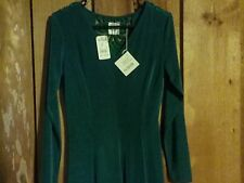 Women's Emerald Green Embroidered Open Back Dress Size S Together RN 41488