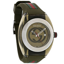 Gucci Sync XXL Khaki Red Green Rubber Strap Swiss Quartz Watch YA137106