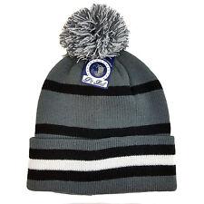 Plain Stripe Multi Color Pom Cuffed Beanie Knit Hat Skull Cap