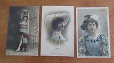 Lot of 3 FOLIES BERGERE Photo Tinted Postcards: Miss Seal, Verena, Davril