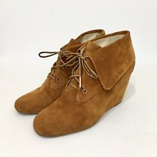 Micheal Kors Womens 9M Tan Suede Leather Wedge Heel Ankle Boots Lace Up