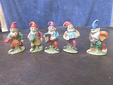 VINTAGE COLLECTIBLE SET OF 5 ANRI HAND CRAFTED & PAINTED DWARF ELF FIGURINE MINT