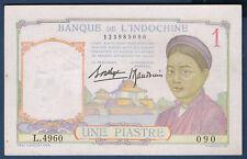 BILLET DE BANQUE D'INDOCHINE.UNE PIASTRE Pick n°54.b de 1932/1939 SUP L.4960 090