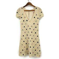 Manoush Sweater Dress Womens Medium Hand Knit Mohair Blend Floral Vneck