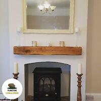 OAK MANTLE FIREPLACE BEAM - Rustic Timber Shelf Mantelpiece with Brackets & Oils