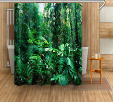 Polyester Fabric Shower Curtain Set Tropical Green Rain Forest Landscape 12 Hook