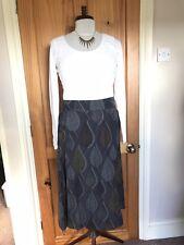 Seasalt Size 12 Autumnal formal smart office Leaf Pattern Grey Skirt