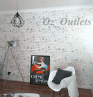 10m Premium Quality Rustic Grey Wash White Brick Embossed Wallpaper Cafe Shop AU