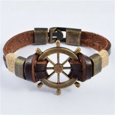 Charm Stainless Steel Rudder Genuine Cow Leather Bracelet for Men Jewelry