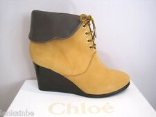 Chloe Mustard Nubuck Wedge Lace Up Booties Boots Foldover 39.5 9.5 $895