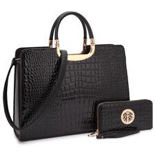 Women Handbag Faux Leather Work Satchel Briefcase Tote Shoulder Bag Medium Purse