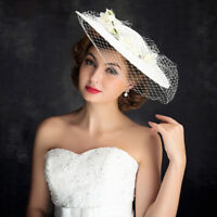 Elegant Lace White Women's Wedding Party Veil Prom Evening Cap Formal Hat New