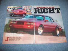"1986 Ford Thunderbird Drag Car Article ""Raising Them Right"""