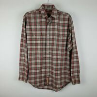 Cinch Mens Gray & Red Plaid Long Sleeve Pearl Snap Western Shirt Sz SMALL