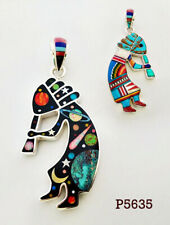 RADIANT CELESTIAL TURQUOISE OPAL INLAY .925 STERLING SILVER KOKOPELLI PENDANT