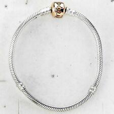 Pandora Silver Rose Gold Clasp Moments Bracelet 18cms 590702.