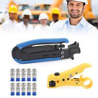 F-Type Coaxial Compression Tool Coax Cable Crimper Kit Adjustable RG6 RG59 RG11