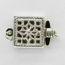 Square Box Filigree Necklace Bracelet Clasp Sterling Silver 1 piece