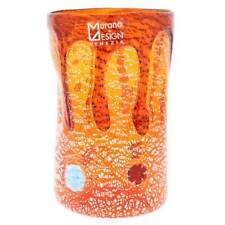 GlassOfVenice Murano Glass Tall Drinking Glass - Silver Lava Orange