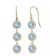 2.64 Ct Round Sky Blue  Topaz 14K Yellow Gold Bezel 3-Stone Dangle Earrings