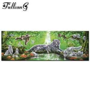 FULLCANG full square/round drill diy 5d diamond painting tiger and eagle large