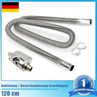Edelstahl Abgasschlauch Abgasrohr φ25mm+Diesel Standheizung Schalldämpfer 120cm·
