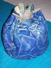 c.1930,Art Deco ,Bright Blue,' Butter Soft', Leather, Drawstring 'Dolly' Bag,