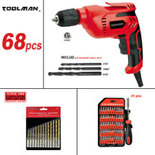 "64pc Toolman 3/8"" Electric Power Drill Driver Corded Screwdriver Drill bit set"
