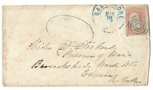 1865 USA 65 on Cover to CSA POW Elmira Prisoner - Examined Oval- POW Identified