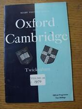 Programma di rugby 08/12/1970: Università di Oxford V Cambridge University [a T