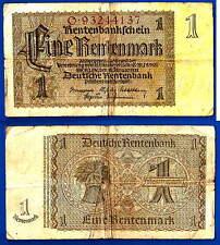 Germany 1 Rentenmark 1923 1937 Marks Mark Free Shipping Worldwide