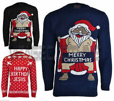 Mens Unisex Adults Novelty Naked Santa Christmas Knitted Jumper Pullover Sweater