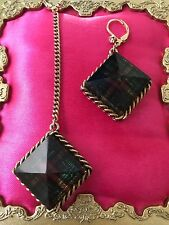 Betsey Johnson Vintage Green Plaid Lucite Block Pyramid Spike Mismatch Earrings