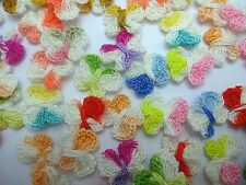 100 Mixed Multi-Colors Butterfly Handmade Crochet Baby Appliques Sewing Crafts