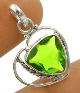 """2CT Peridot 925 Solid Sterling Silver Pendant Jewelry 1 1/5"""" Long NW3-2"""