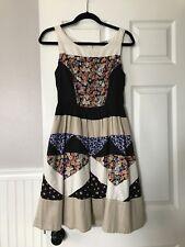 anthropologie Patchwork Dress Leifnotes women size 4 pockets