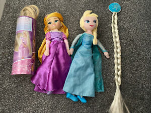 """Disney Light Up Rapunzle Wig And 14""""Doll + Elsa Plush Doll 14"""" And Hair Clip On"""