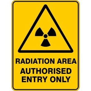 RADIATION AREA AUTHORISED - SELF ADHESIVE STICKER / DECAL / SIGN | HEALTH & SAFE