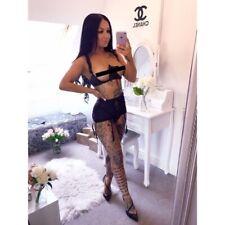 Sexy Lingerie Lace Open Bust Black Suspender Belt Thong Seductive Set and Hot