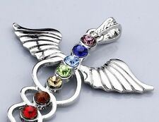HEALING ENERGY CHAKRA ANGEL PENDANT 7 COLOUR GLASS CRYSTAL PENDANT & CHAIN