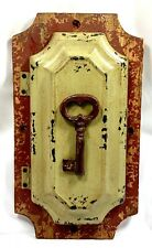 Farm Rustic Wood Metal Wall Key Rack Holder Box with Door Cabinet Panel Figure