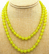 """Fine natural 6mm peridot beads Gemstone Necklace 36 """"AAA"""