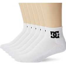 6 Pack Mens DC Shoess White Quarter Crew Socks