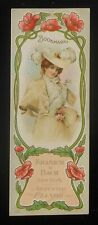 1900s Bookmark Beautiful Girl Fancy Dress Hat Kranich & Bach Artistic Pianos NYC